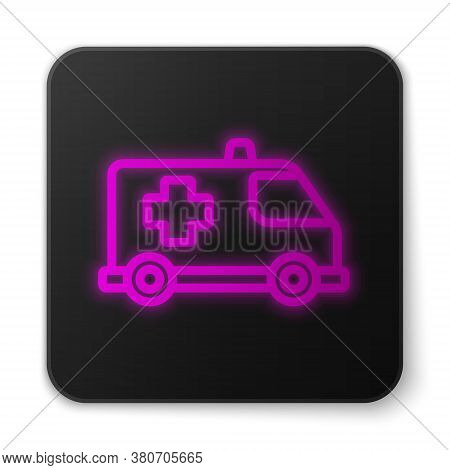 Glowing Neon Line Ambulance And Emergency Car Icon Isolated On White Background. Ambulance Vehicle M
