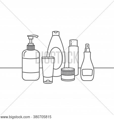 Vector Line Icons Of Cosmetics Of Various Shapes. Cosmetic Set