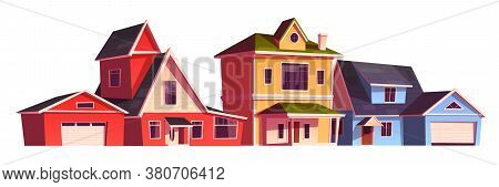 Suburb Houses, Residential Cottages, Real Estate Countryside Buildings. Two Storey Suburban Dwelling