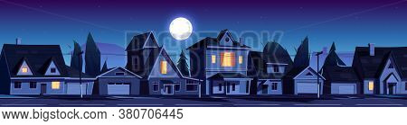 Street In Suburb District With Residential Houses At Night. Vector Cartoon Landscape With Suburban C