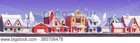 Street In Suburb District With Residential Houses And Snowfall. Vector Cartoon Winter Landscape, Sub