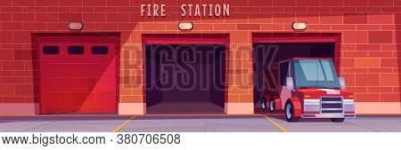Fire Station Garage With Red Truck Leaving Box. Municipal City Service, Emergency Department Hangars
