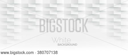 3d Futuristic White Paper Corners Mosaic White Background. Realistic Geometric Mesh Rectangle Textur