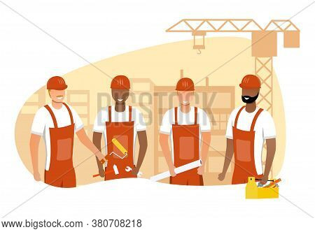 Vector Illustration Of Team Of Builders. Happy Builders Working On Construction Site