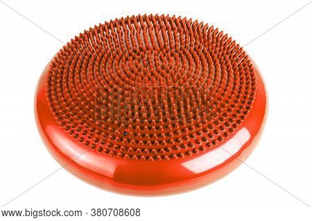Orange Inflatable Balance Disk Isoleated On White Background, It Is Also Known As A Stability Disc,