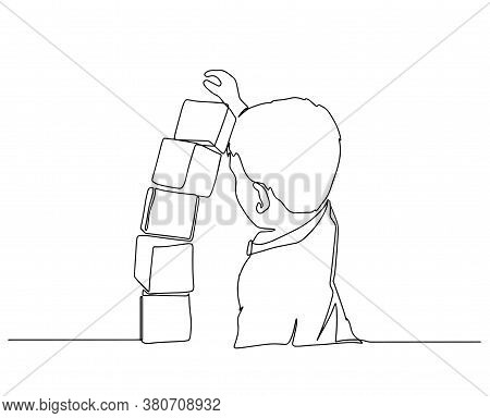 One Continuous Drawn Line Of The Kid Playing With Toy Cubes Drawn From The Hand A Picture Of The Sil