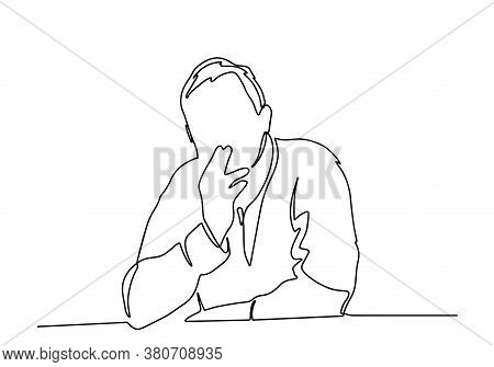 Smoking Old Man Sitting On A Bench One Line Illustration. A Man With Cigarette Smoking Continuous Li