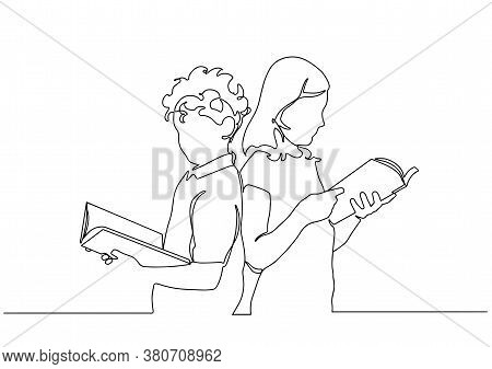 Children Read Book Continuous One Line Drawing. Continuous Single Drawn One Line Boy And Girl Readin