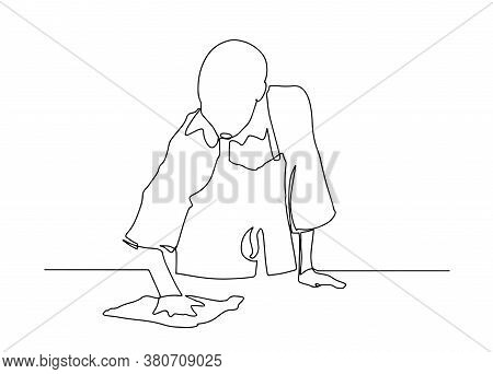 Continuous Line Young Woman With A Puffer And A Rag In Her Hands. The Concept Of Cleaning Offices An
