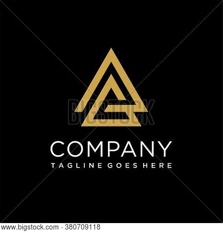 Triangle Initials With Letter A And Letter G, G Letter Logo Concept.triangle G Letter Line Sign Desi