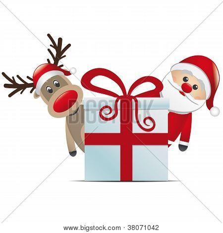 reindeer santa claus christmas gift box red