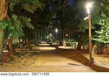 night view of Greek Park in Odessa city, Ukraine, near Potemkin stairs and Primorskiy boulevard