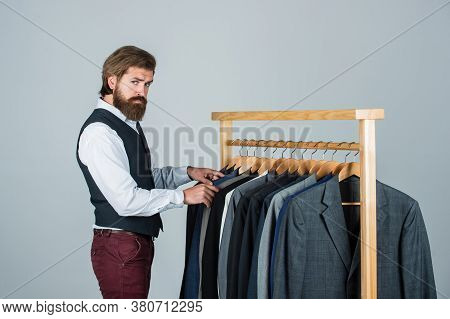 Sharing New Ideas. Handsome Bearded Fashion Man In Classical Costume Suit. Man In Custom Tailored Su