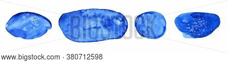 Set Of Watercolor Ultramarine Color Spots With Streaks , Isolated On A White Background For Text