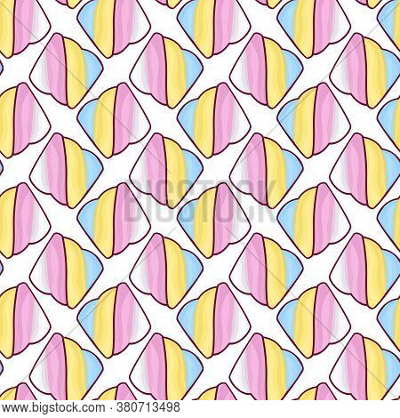 Seamless, Endless Pattern With Marshmallows In Colorful Cartoon Style, Vector Eps 10 Format