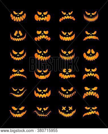 Scary Silhouettes Of Pumpkin Faces Set. Halloween. Vector Illustration. Cartoon Style. Isolated On B