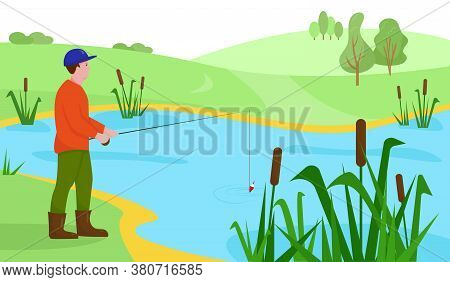 Fisherman With Fishing Rod On The Lake Or River. Landscape With Fisher Man. Outdoor Sport Or Hobby C
