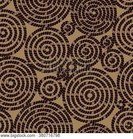 Seamless Pattern With Circular Ornament. Imitation Of Animal Skin. Dark Background. Original Design