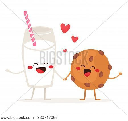 Cheerful Glass Of Milk And Traditional Cookies With Chocolate Chips. Friends Forever. Vector Illustr