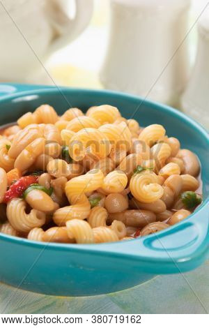 Italian style pasta fagioli dish with macaroni and kidney beans