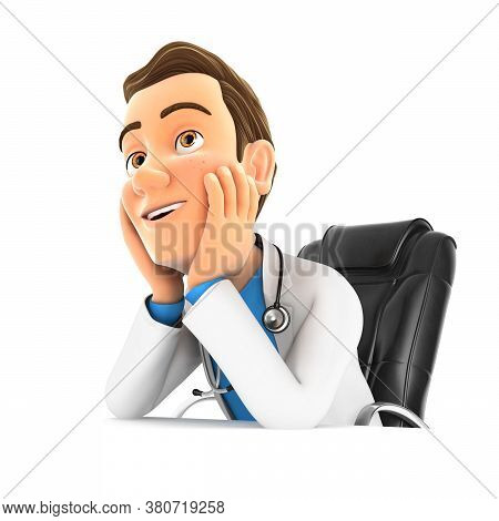 3d Doctor At Office Daydreaming, Illustration With Isolated White Background