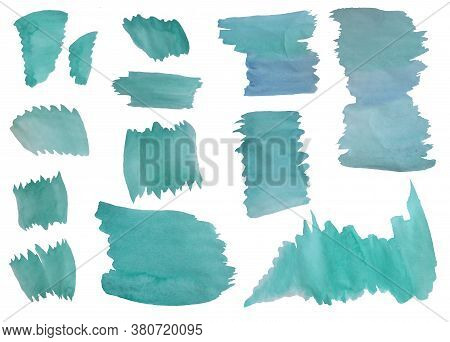Watercolor Stains. Set Of Emerald And Blue Spots. Watercolor Paint Transitions. Separate On A White