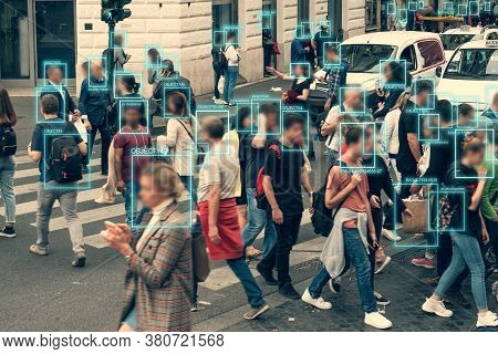 Face Detection And Recognition Of Citizens People, Ai Collect And Analyze Human Data. Artificial Int