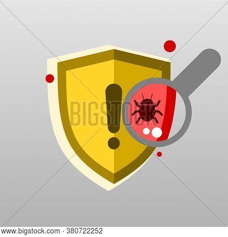Illustracion Virus Detected On Laptop Scanning. Computer Invasion
