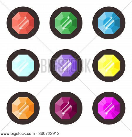 Set Of Nine Icons Of Gems Diamond, Ruby, Emerald, Sapphire. Isolated Objects On White Background
