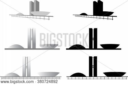 Illustration Silhouettenational Congress Of Brasilia, Brazil, Politician
