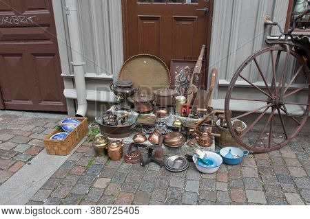 Gothenburg, Sweden - June 18 2019: The View Of Antique Shops In The Old Haga District On June 18 201