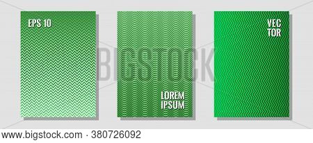 Geometric Design Templates For Banners, Covers. Educational Notepads. Zigzag Halftone Lines Wave Str