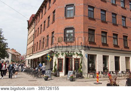 Gothenburg, Sweden - June 18 2019: The View Of Haga District Typical Street On June 18 2019 In Gothe