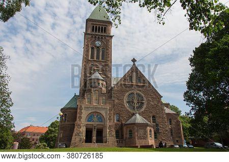Gothenburg, Sweden - June 18 2019: The Facade View Of Vasa Church On June 18 2019 In Gothenburg, Swe