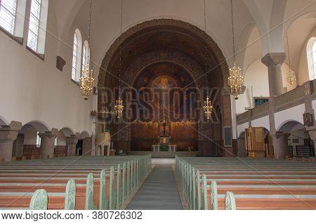 Gothenburg, Sweden - June 18 2019: Interior View Of Vasa Church On June 18 2019 In Gothenburg, Swede