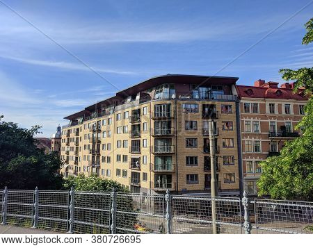 Gothenburg, Sweden - June 16 2019: The View Of Typical Building With Blue Sky On Background On June