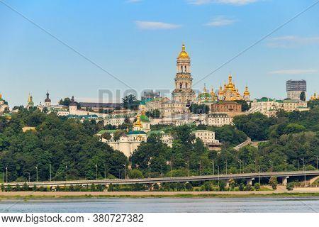 View Of Kiev Pechersk Lavra (kiev Monastery Of The Caves) And The Dnieper River In Ukraine