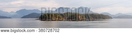 Panoramic View Of Gambier Harbour In Howe Sound During A Vibrant Summer Morning. Located Near Vancou