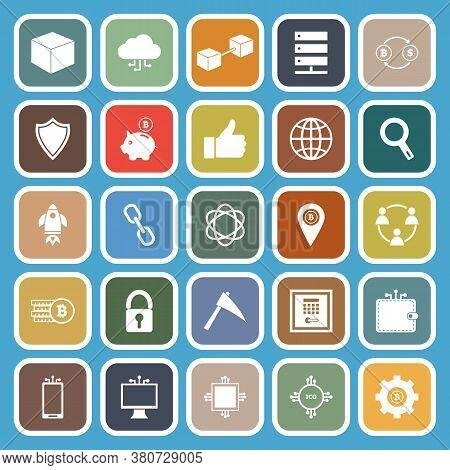 Blockchain Flat Icons On Blue Background, Stock Vetor