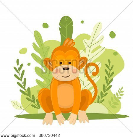 Vector Illustration Of A Cute Monkey In Flat Style.cartoon Illustration Drawn For Children. Illustra
