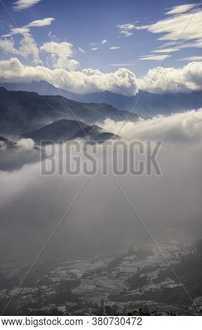 Rice Field Terraces. Mountain View In The Clouds. Sapa, Lao Cai Province, North-west Vietnam