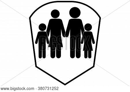 For A Healthy Family. Family In The Shield. Family Insurance Badge. Family Safety Symbol. Vector Ima