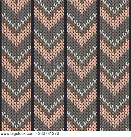 Handicraft Downward Arrow Lines Knitted Texture Geometric Seamless Pattern. Jacquard Knit Tricot  Fa