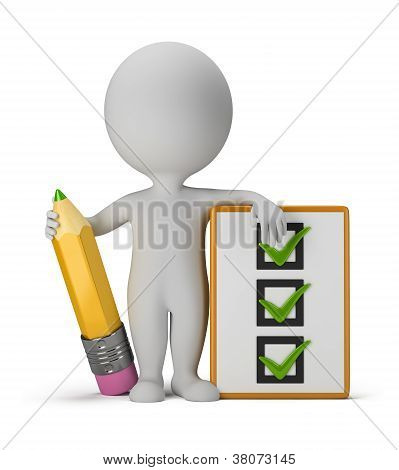 3D Small People With Clipboard And Pencil