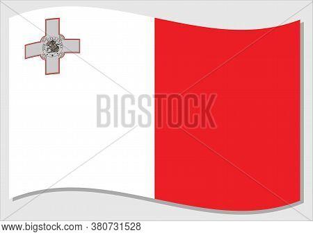 Waving Flag Of Malta Vector Graphic. Waving Maltese Flag Illustration. Malta Country Flag Wavin In T