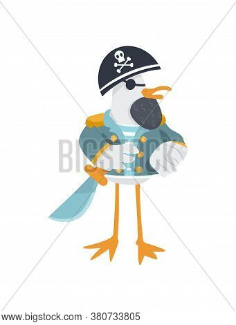 Vector Eye Patched Pirate General With Cutlass And Cocked Hat. Cool General Seagull With Beard In St