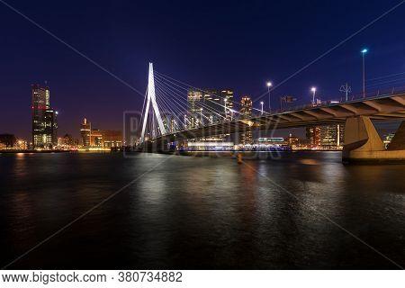 Rotterdam / Netherlands - November 2016: Erasmusbridge In Rotterdam, The Netherlands At Night