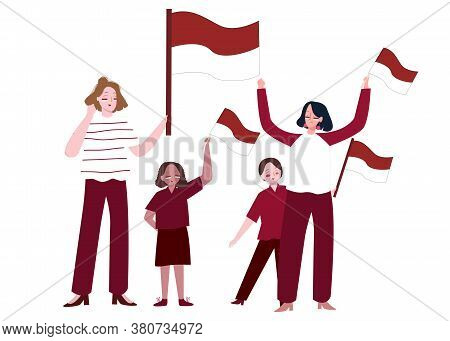 Women And Children Holding Indonesian Flag Show Spirit Of Independence With Flat Cartoon Style