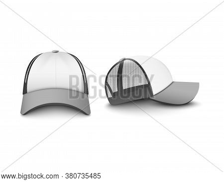 Gray And White Trucker Cap Set Of Realistic Vector Illustrations Mockup Isolated.