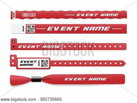 Red Id Bracelet Mockup Set With Sponsor And Event Name Template.